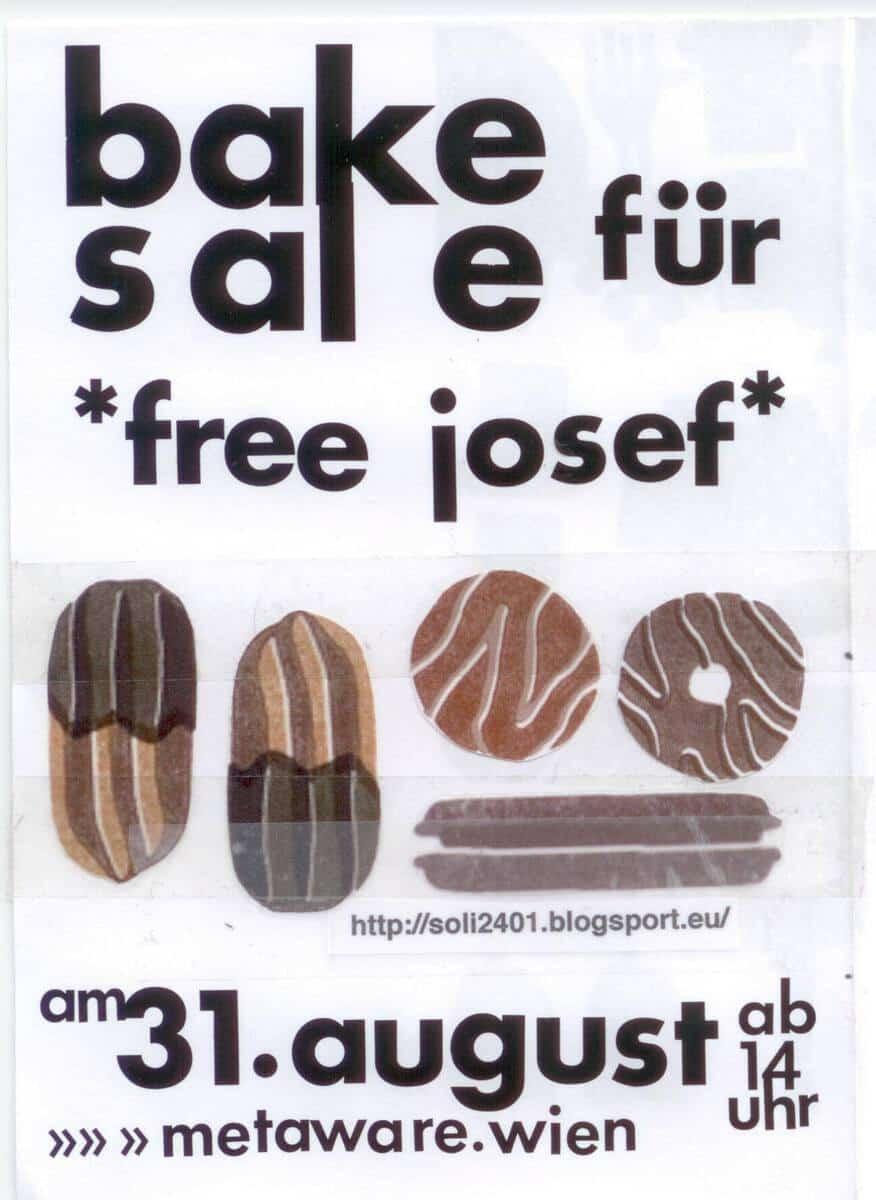 Flyer zum free josef vegan bake sale