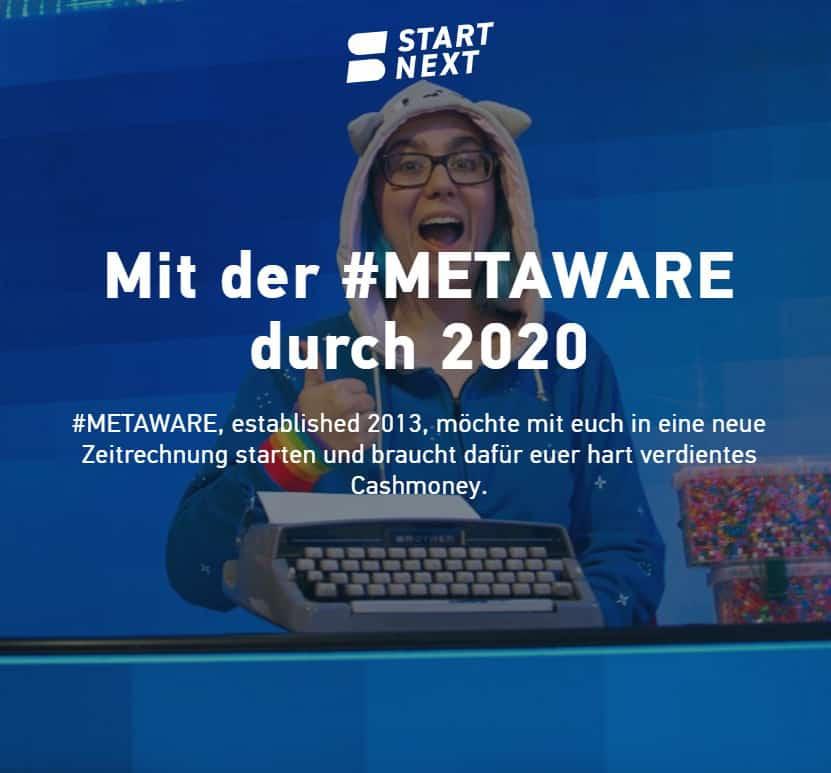 Screenshot vom Metaware Crowdfunding bei Startnext.com